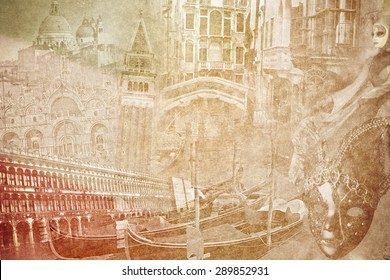 montage photo of Venice on vintage paper