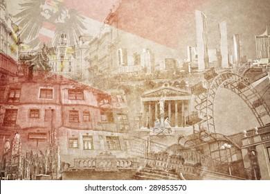 montage photo of Vienna on vintage paper