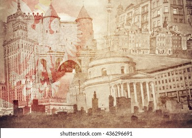 Montage photo of Warsaw on vintage paper