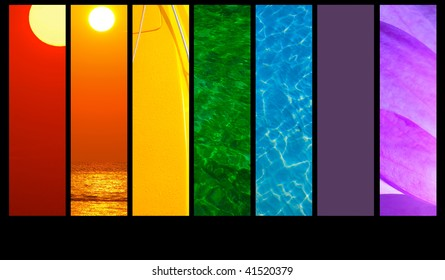 Montage of seven rainbow colors
