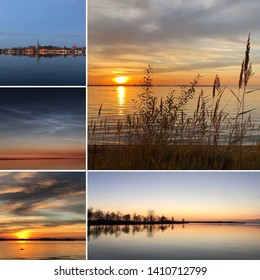 Montage of the surroundings of the town  Vadstena in Sweden at sunset in different angles.