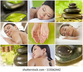 Montage of young beautiful women relaxing at a health spa having treatments, hot stones, oils and massages