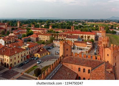 Montagnana, Italy - August 24, 2018: Panoramic view of the city fortress from the tower.