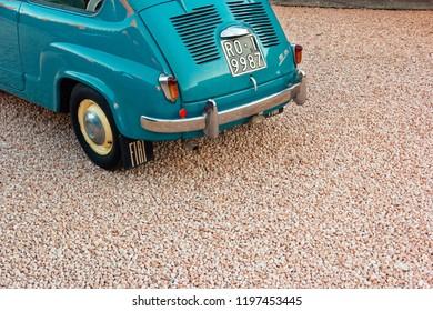 Montagnana, Italy August 27, 2018: Retro car Fiat 600 1955 release.