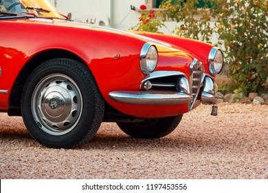Montagnana, Italy August 27, 2018: Retro car Alfa Romeo convertible 1961 ode release.