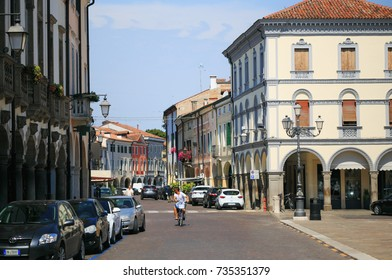 Montagnana, Italy - August 6, 2017: architecture of the quiet streets of the old city in the early morning