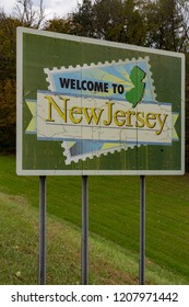 Montague, NJ, USA - October 17, 2018:  A Welcome to the State of New Jersey sign posted along Route 206 after leaving Pennsylvania.