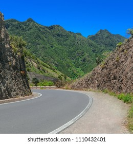 Montain Road in Mirador de Amogoje near Taganana villiage in Tenerife,Canary island, Spain. Anaga natural park landscape background.