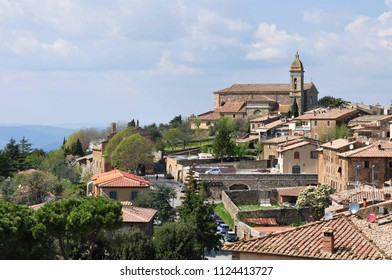Montalcino, hill town and commune in Tuscany, Italy and the surrounding vineyards of famous Brunello di Montalcino Wine