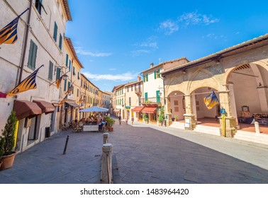 Montalcino, Italy - 15 August 2019 - The awesome historical center of the medieval and renaissance city on the Val d'Orcia, famous for wine; Tuscany region, province of Siena