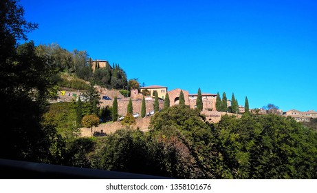 Montalcino, Italy – October 31, 2016: Photos taken in the city of Montalcino, it is known for its Brunello di Montalcino wine