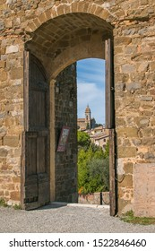 MONTALCINO, ITALY - OCTOBER 4, 2019: Beautiful view of Montalcino from the door of old fortress in Val d'Orcia, Tuscany