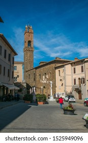 MONTALCINO, ITALY - OCTOBER 4, 2019: View of the main square of Montalcino in Val d'Orcia