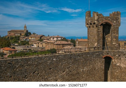 MONTALCINO, ITALY - OCTOBER 4, 2019: Urban view of medieval city of Montalcino in Val d'Orcia