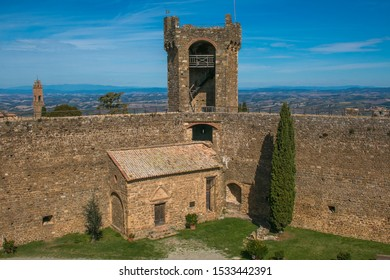 MONTALCINO, ITALY - OCTOBER 7, 2019: Courtyard of the impenetrable fortress of Montalcino in Val d'Orcia, Tuscany.