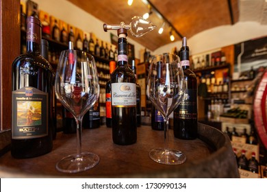Montalcino, Italy - September 13, 2011: Interior of a wine shop in Montalcino ,Tuscany, Italy. Montalcino is famous for its Brunello di Montalcino wine.