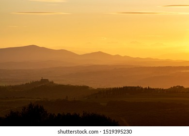 Montalcino, Italy / Tuscany - Sept 24 2019: sunset in Montalcino vineyards, Val D'Orcia, Tuscany
