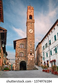 Montalcino, Siena, Tuscany, Italy: the medieval Palazzo dei Priori with the tall tower in the historic center of the ancient Tuscan town