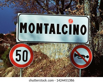 Montalcino Sign on the road, Montalcino Italy
