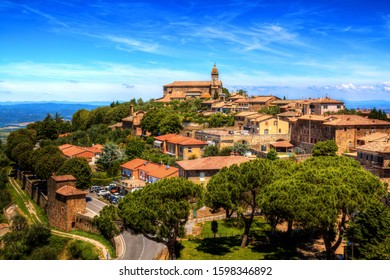 Montalcino / Tuscany, Italy - 23 June 2015: View of Montalcino town from the Fortress.