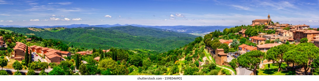 Montalcino / Tuscany, Italy - 23 June 2015: Panoramic view of Montalcino town from the Fortress.
