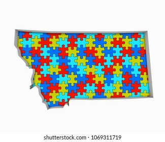 Montana MT Puzzle Pieces Map Working Together 3d Illustration