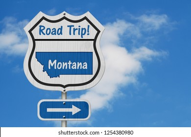 Montana Road Trip Highway Sign, Montana map and text Road Trip on a highway sign with sky background 3D Illustration