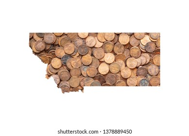 Montana State Map and Money Concept, Piles of Coins, Pennies