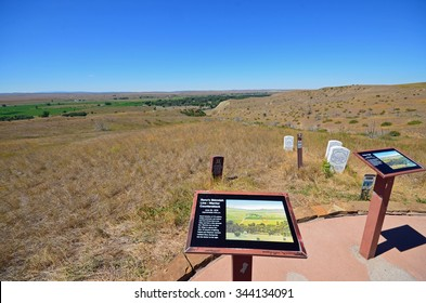 Montana, USA - August 19, 2015: view across the area of the Battle of the Little Bighorn in Montana, USA. The battle took place in June 1876, commonly known as Custer's Last Stand.