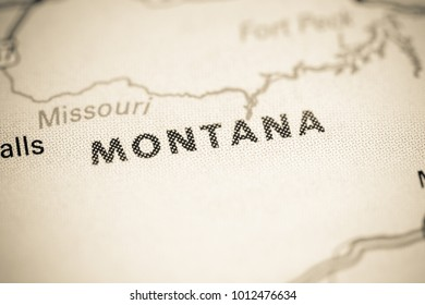 Montana. USA on a map.