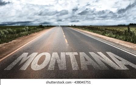 Montana written on the road