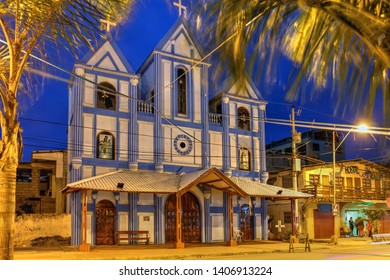 MONTANITA, ECUADOR - June 26, 2018: Local church in the little fishing village and surfing town of Montanita, considered to have the best surfing location in Ecuador.