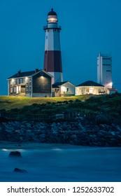 Montauk Lighthouse, at night, Montauk Point State Park, New York