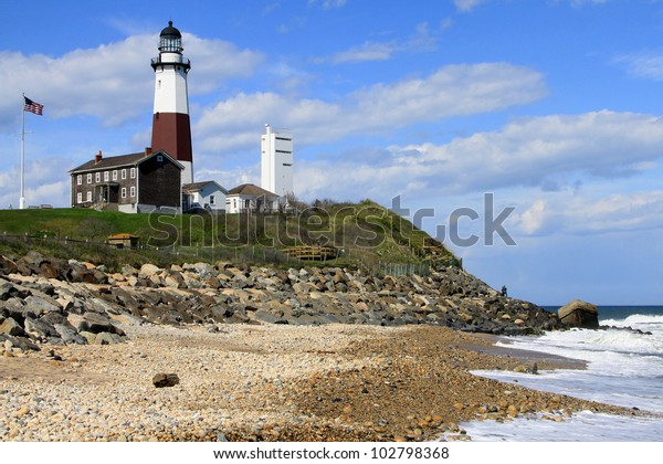 Montauk lighthouse on the Atlantic Ocean at the eastern tip of Long Island, New York.  It was commissioned by President Washington and built in 1796.