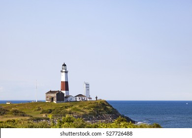 Montauk Lighthouse stands majestically on the cliffs of Montauk Point, Long Island, New York.