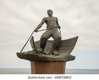 "Montauk, Long Island - May 19, 2019: ""Lost at Sea Memorial"", created by Malcolm Frazier, honoring fishermen of Long Island lost at sea in Montauk, at the tip of Long Island."