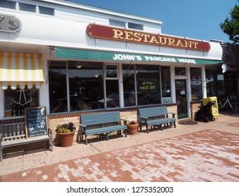 MONTAUK, NEW YORK-JULY 11: The venerable John's Pancake House Restaurant is seen on Main Street, The Montauk Highway on July 11, 2018 in The Hamptons, Montauk, New York.