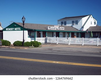 MONTAUK, NEW YORK-JULY 12: The historic and famous Memory Motel and bar is seen in Montauk, New York, The Hamptons on July 12, 2018.