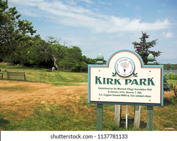 MONTAUK, NEW YORK-JULY 14: Kirk Park, in memory of Dr. Norman T. Kirk, on Fort Pond is seen in Montauk, The Hamptons, New York on July 14, 2018.
