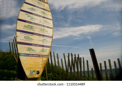 MONTAUK, NEW YORK-JUNE 8: Sign of surfer rules of etiquette on on surf boar in Ditch Plains Beach in Montauk, New York are seen on June 8, 2018.