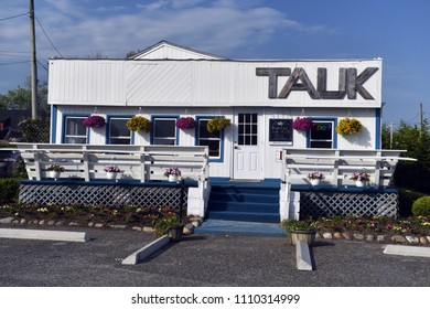 MONTAUK, NEW YORK-JUNE 8: TAUK restaurant, the new name of one of the oldest restaurants in Montauk, New York, The Trail, is seen on June 8, 2018.