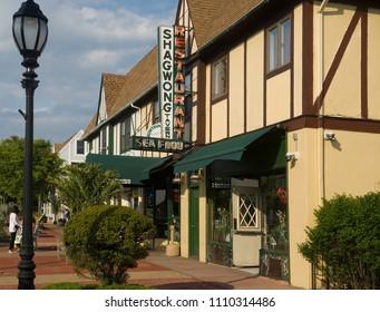 MONTAUK, NEW YORK-JUNE 8: The venerable Shagwong restaurant on The Montauk Highway in downtown Montauk, New York is seen on June 8, 2018.