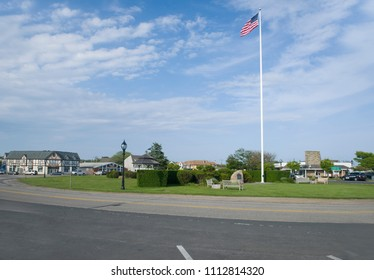 MONTAUK, NEW YORK-JUNE 8: The village Green is seen in downtown Montauk, New York, The Hamptons on June 8, 2018.