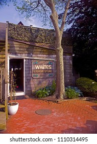 MONTAUK, NEW YORK-OCTOBER 8: Entrance to White's Liquor Store from parking lot side is seen in Montauk, New York on October 8, 2018.