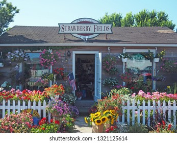 MONTAUK, NEW YORK/USA-JULY 12: Strawberry Fields flower and gift shop is seen on Main St. Old Montauk Highway  in Montauk New York USA ,The Hamptons  on July 12, 2018.