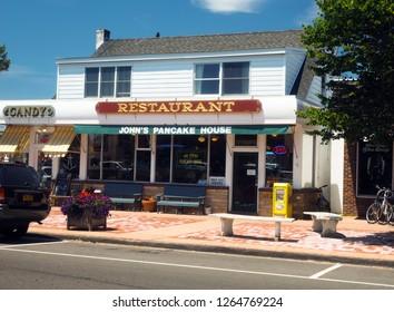 MONTAUK, NY-JULY 13: John's Pancake House Restaurant is seen on Montauk Highway in downtown Montauk, Long Island, New York in The Hamptons on July 13, 2018.