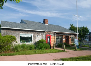 MONTAUK, NY/USA-JUNE 6, 2018: The Montauk Chamber of Commerce building is seen in Montauk Village in The Hamptons, New York on June 6, 2018.