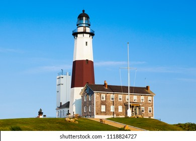 Montauk Point Lighthouse, the oldest lighthouse in New York State. Completed on November 5, 1796. The Montauk Point Lighthouse became a National Historic Landmark in 2012.