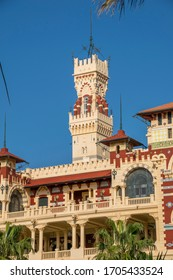 Montaza Palace in Alexandria, Egypt a palace, Clock Tower. Overlooking a beach Mediterranean Sea.