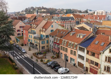 Montbeliard, Doubs department, France, 12/15/2018;  Roofs and street of the Montbeliard town in Doubs department in the Bourgogne Franche Comté region in eastern France